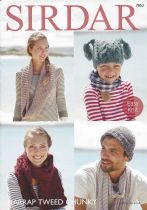 Sirdar Harrap Tweed Chunky - 7852 T-Bag Hat, Pull on Hat, Snood & Scarf Knitting Pattern